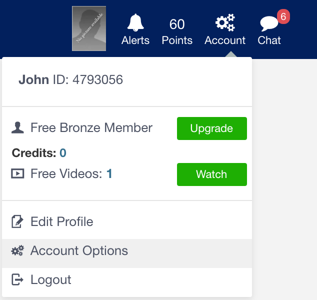 click on account and then account options